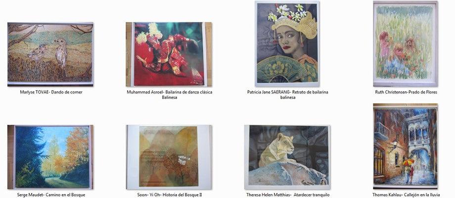 Obras Exposición Internacional de Pintores con la Boca y con el Pie en Teruel