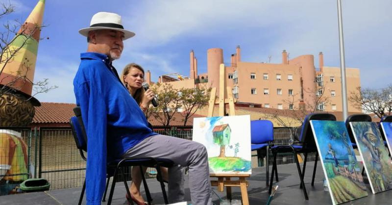 Taller de Pintura con la boca y con el pie en el CEIP Sierra Bermeja