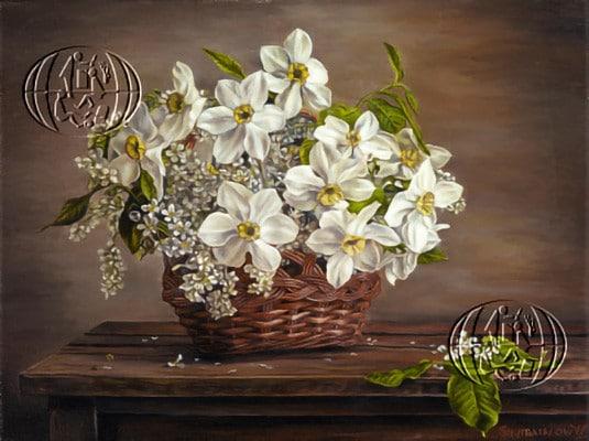 """""""Weisse Blumen im Korb"""" Walery Siejtbatalow, 2013, Polonia"""