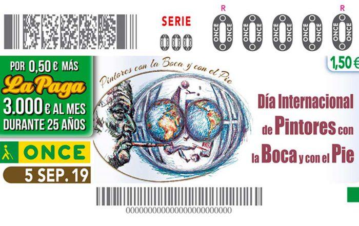 Asociación de Pintores con la Boca y con el Pie en el Cupón de la ONCE