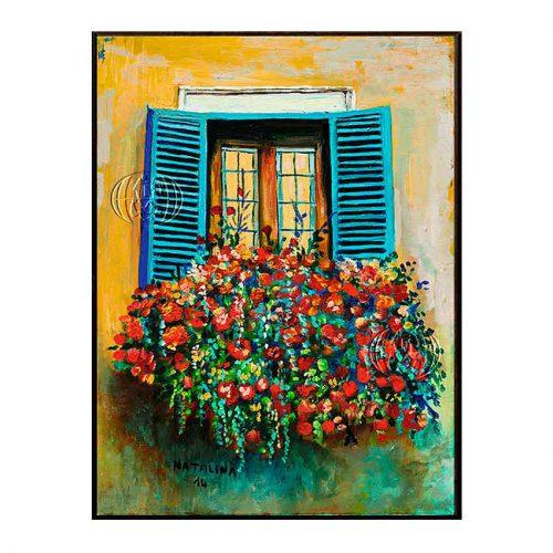 """""""Balcone blu con esplosione floreale"""" de Natalina MARCANTONI"""