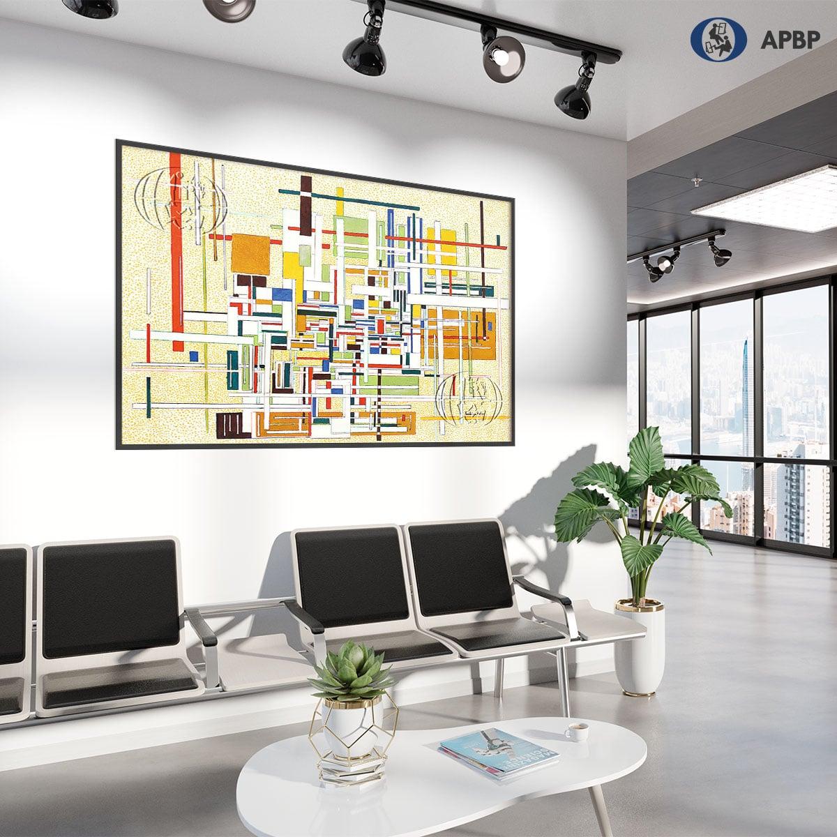 """cómo decorar con cuadros abstractos una sala de espera """"Composición 2"""" de José Gerardo URIBE Aguayo"""
