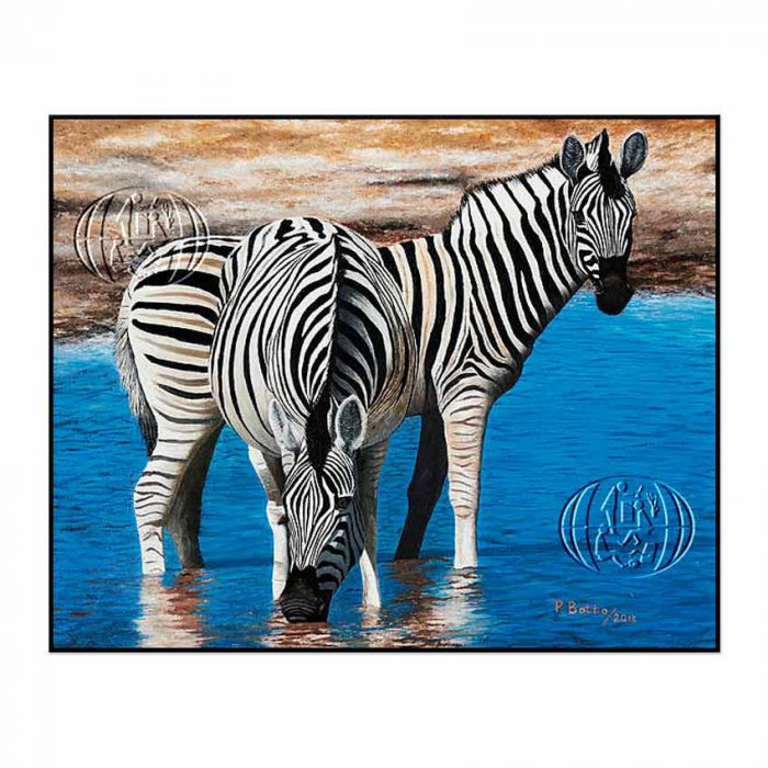 """Cebras bebiendo agua"" de Patrick John Botto"