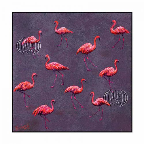 """Flamencos flotantes"" de Barry West"
