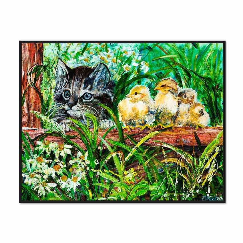 """""""Gato y pollitos"""" de Elodie CAZES"""