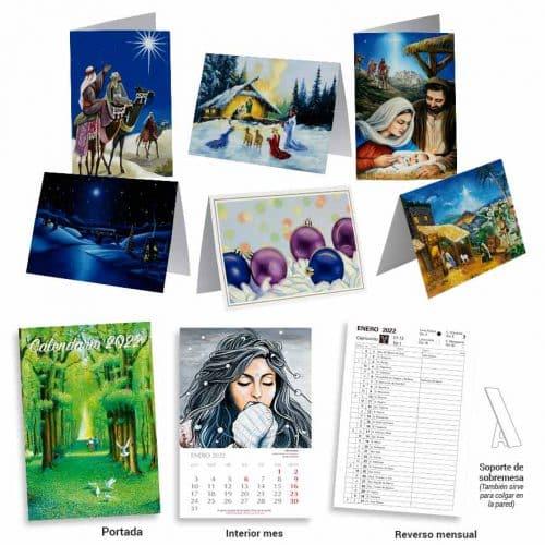 Colección de calendario y tarjetas de Navidad